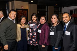The Asian American Bar Association and AABA Law Foundation held their holiday party and fundraiser on Dec. 13 at Lao Sze Chuan on North Michigan Avenue. Pictured are the AABA's current and past presidents. From left to right: Chung-Han Lee, assistant regional counsel for the U.S. Department of Health and Human Services; Cook County Assistant State's Attorney Jasmine V. Hernandez; Mehpara Angelina Suleman, deputy general counsel for Vernon Hills-based Incredible Technologies Inc.; Anne Shaw, owner of Shaw Legal Services; Sharon A. Hwang, partner at McAndrews Held & Malloy; and Assistant U.S. Attorney Ankur Srivastava.