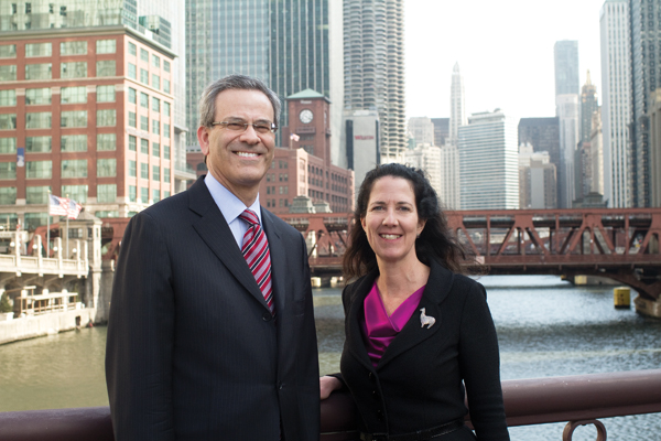 (Left) Robert Shuftan, Edwards Wildman managing partner, and Mary G. Wilson, Chicago office managing partner of SNR Denton, work at firms that recently grew by merger.&nbsp;<em>Natalie Battaglia</em>