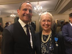 <em>In the name of the president of France, Vincent Floreani, consul general of France in Chicago, presented solo practitioner Lynne R. Ostfeld the medal marking her having been made a Knight (Chevalier) of the French National Order of Merit on June 29 at the Union League Club. Ostfeld has advised the consulate pro bono for 22 years.</em>