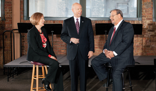(From left to right) Marilyn Pearson of DLA Piper, Thomas Jeffery of Federal Mediation and Conciliation Service and Marvin Gittler of Asher, Gittler and D'Alba last year negotiated an end to a one-day musicians' strike at the Chicago Symphony Orchestra. Photo by Lisa Predko.&nbsp;<em></em>