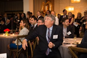 Swanson, Martin & Bell partner George Fitzpatrick watches the presentation of awards at Law Bulletin Media's Forty Under 40 event May 9 at The Ivy Room. The yearly program honoring young attorneys for their professional accomplishments is in its 20th year.