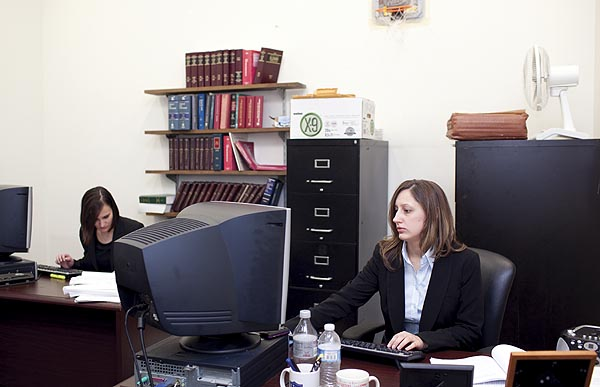 Assistant State's Attorneys Emma Nowacki (left) and Jessica Bargmann were working in a shared office space at the Daley Center on  Jan. 20. Photos by Natalie Battaglia.&nbsp;<em></em>