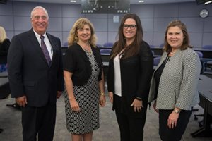 On June 1, the Illinois Judges Foundation held officer elections for the 2018-19 year.  Cook County Circuit Judge Diann K. Marsalek is  president; Madison County Associate Judge Sarah D. Smith is vice president, Cook County Circuit Judge Debra B. Walker is  treasurer and  DuPage County Associate Judge Brian R. McKillip is secretary. Pictured, left to right, former 14th Judicial Circuit judge John L. Hauptman, IJF past-president; Marsalek, Smith and Walker.