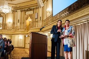 "Retired federal appeals court judge Ann Claire Williams (right) received LAF's 2018 Champion for Justice Award from Andrea Zopp, president and CEO of World Business Chicago,  on June 21 at the Palmer House. LAF, Cook County's largest provider of free civil legal aid, recognized Williams ""for her deep and long-standing commitment to legal services for people living in poverty,"" the group said in a statement. Williams stepped down from the 7th U.S.  Circuit Court of Appeals in January to head Jones Day's efforts to train lawyers and judges in Africa."