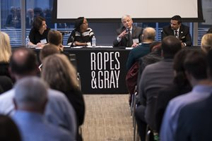 "To celebrate Pro Bono Week, UChicago Mansueto Institute for Urban Innovation Executive Director Anne Dodge, Community Law Project Small Business and Homeownership Program staff attorney Angie Hall, Lawyers for the Creative Arts Executive Director Jan Feldman and Instituto Del Progreso Latino Chief Financial Officer Miguel Tovar participated in a panel discussion titled ""Community Development Through Pro Bono."" The Oct. 23 event was hosted by Ropes & Gray and presented by The Chicago Bar Foundation and The Chicago Bar Association."