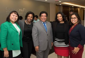 Justice Jesse G. Reyes, president of the Diversity Scholarship Foundation, NFP, welcomed the presidents of local bar groups on Oct. 19 to the foundation's annual All Bar Presidents' Reception. Pictured, left to right, are: Filipino American Lawyers Association of Chicago President Lesley Arca, Tondalaya Lloyd of the Lloyd Law Firm, Reyes, Black Women Lawyers Association of Greater Chicago President Erica Kirkwood and Asian American Bar Association of Chicago President Jasmine Hernandez.