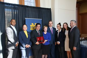 The Notre Dame Law School's Hispanic Law Students Association gave 1st District Appellate Justice Jesse G. Reyes its Graciela Olivarez Award on April 19 on the South Bend, Ind., campus. Pictured from left to right are Geovanny Martinez, an Elkhart County, Ind., deputy prosecutor; Notre Dame student Veronica Canton; Reyes; Notre Dame dean Nell Jessup Newton and professor Jimmy Gurule; Daniela Peinado and Ashley Pikeika, co-presidents of the Hispanic Law Students Association; and professor Rudy Monterrosa.