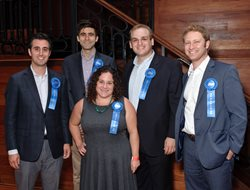 "The Jewish United Fund's Young Leadership Division hosted its annual ""WYLD"" celebration Aug. 10 at Old Crow Smokehouse in River North, honoring its ""Double Chai in the Chi"" 36 Under 36 list. Pictured, left to right, are Kyle E. Stone, general counsel for the Illinois Department of Public Health; Benjamin T. Halbig, associate at Jenner & Block; Keren Hart Zwick, associate director of litigation for the National Immigrant Justice Center; Marc Karlinsky, editor of the Chicago Daily Law Bulletin, and Elliot Riebman, staff attorney for the Cook County Circuit Court's Office of the Chief Judge."