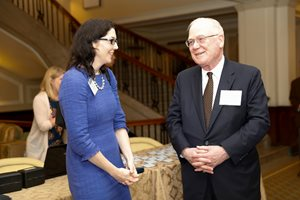 Cook County Circuit Judge Clare J. Quish, vice president of the Appellate Lawyers Association, speaks with Judge Kenneth F. Ripple of the 7th U.S. Circuit Court of Appeals at the ALA's Seventh Circuit Roundtable Luncheon at the Union League Club on May 15.