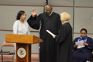 Standing next to his wife Sharon, P. Scott Neville Jr. was sworn in as an Illinois Supreme Court justice on June 15 by Justice Anne M. Burke. Neville will serve out the remainder of retiring Justice Charles E. Freeman's term, which was set to expire in December 2020. Neville could choose to run for a full 10-year term at that time.