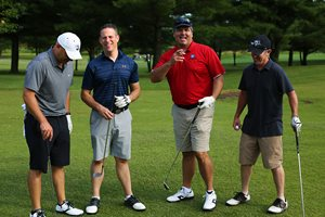 Simmons Hanly Conroy Shareholder Randy S. Cohn, second from left, joined three friends to form one of 50 teams who participated in the 13th Annual Simmons Employee Foundation (SEF) Golf Tournament in Alton, Ill. This year participants helped raised $26,000 for Foster & Adoptive Care Coalition, a St. Louis-based charity dedicated to finding homes for area children in the foster-care system throughout the St. Louis Metro area. Cohn was joined by Dean Zurliene, Vice President of Sales for Monster Energy in St. Louis; Troy Chandler, Attorney at Chandler McNulty in Houston; and Ryan Shea, of Bruce Concrete Construction in Granite City, Ill.