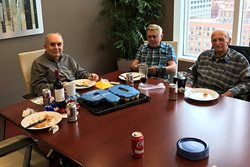<em>Murphy & Hourihane celebrated the 90th birthday of attorney Jack Joseph (left) on May 19. Joseph, who joined the bar in 1952, still maintains a practice and rents space from the firm at its 161 N. Clark St. office. Joining him for cake and stories are retired lawyer Aram A. Hartunian (center) and Ira J. Friedman (right), Joseph's longtime partner at their former firm Joseph & Friedman. Together, the three account for 188 years of legal experience in Chicago. </em>