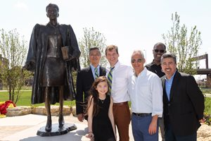 A statue of former 1st District appellate justice Laura Liu was unveiled at Ping Tom Memorial Park in Chicago's Chinatown neighborhood on April 15, the one-year anniversary of her death. Liu was the state appellate court's first Asian American jurist. Pictured at the unveiling are (from left to right) Tony T. Shu, owner of Tony T. Shu & Associates and president of the Chicago Chinatown Chamber of Commerce; Sophie Kasper, Liu's daughter; Michael J. Kasper, Liu's husband and a partner at Fletcher O'Brien Kasper & Nottage P.C.; Mayor Rahm Emanuel; Art Richardson of the Chicago Park District; and 25th Ward Ald. Danny Solis. The artwork, commissioned with private funds, was designed by Ernie Wong.