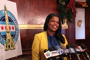 Cook County State's Attorney Kimberly M. Foxx speaks to reporters after a City Club of Chicago event on Jan. 8 at Maggiano's Banquets. In her address to the club members, Foxx looked back on her first year in office.