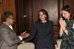 <em>Mayer Brown partner Lori Lightfoot, U.S. District Judge Elaine E. Bucklo and Mechanical Contractors Association Executive Vice President Jill McCall talk at The Chicago Bar Association Alliance for Women's annual awards luncheon on May 24 at the Standard Club. Lightfoot gave the keynote speech at the event, where Bucklo received the group's Founder's Award. </em>