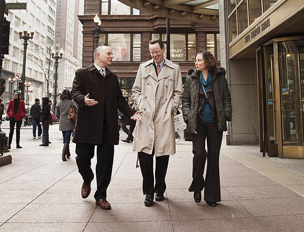 (From left to right) Jim Keane, president and chief executive officer of the Boys & Girls Clubs of Chicago; Matt Revord, senior vice president, general counsel and secretary of Potbelly Sandwich Works; and Pam Schneider, general counsel of Accertify Inc., worked together at Sears in the 1990s. Photo by Callie Lipkin.
