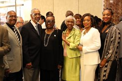 <em>Cook County Circuit Judge Fred Bates, Rep. Bobby L. Rush, Rainbow PUSH Coalition Illinois Political Director Betty Magness, Cook County Circuit Judge Arnette Hubbard, Cook County Bar Association President Dartesia A. Pitts and Kacy Rush attended the Cook County Bar Association's 103rd Annual Awards & Installation Banquet on June 23 at the Hyatt Regency Chicago, where Pitts was sworn in as the new president of the bar group.</em>