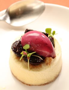 Creme fraiche cheesecake, roasted figs, concord grape sorbet